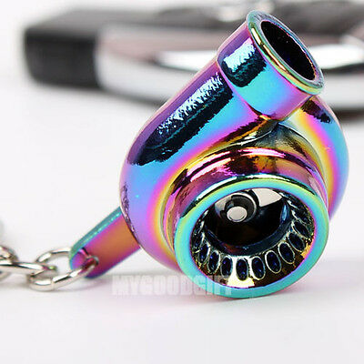 Spinning Turbo Charger Keychain Keyring Key Chain Rainbow Neo Colorful