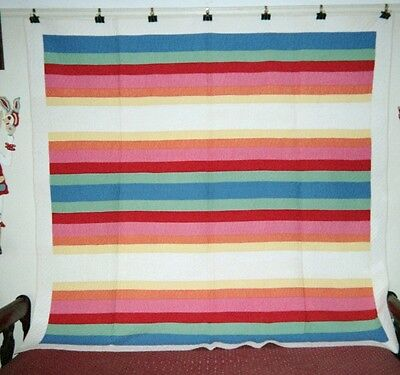 """RAINBOW"" in a Border Quilt: 80"" x 82"",  Midwestern Mennonite,  c.1910, Cottons."