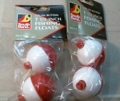 6277 South Bend Push Button Assorted 3 Pack Bobber/'s Floats Red White Fishing