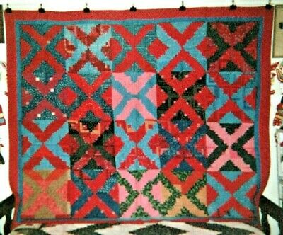 """LOG CABIN"" QUILT: 74"" x 82"", 1870-80's, from PA, Cotton Quaker Prints"