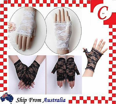 Ladies Fashion Party Costume Wedding Fingerless Floral Lace Gloves Half Finger