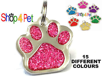 Dog Cat Tag  Quality 27mm Reflective Glitter PET ID Tags +  ENGRAVED Options
