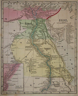 1856 Genuine Antique map of Egypt & Nubia. by C. Morse