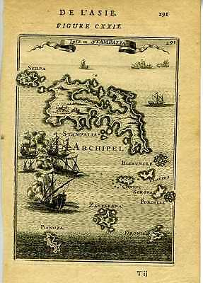 1683 Genuine Antique map Turkish Islands: Stampalia, Zanfarana etc. A.M. Mallet
