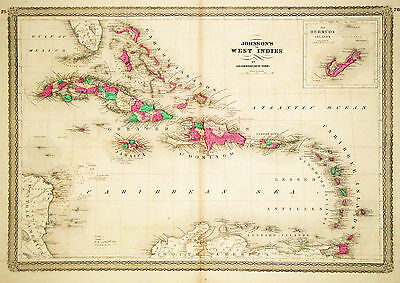 1864 Genuine Antique Hand Colored Map of the West Indies. Johnson