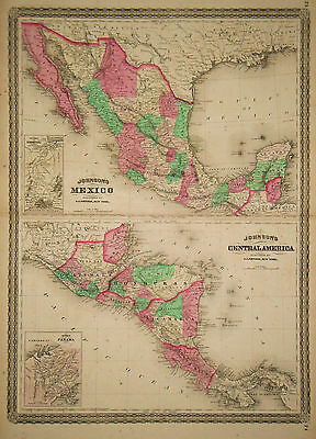 1867 Genuine Antique Map of Mexico & Central America. Johnson