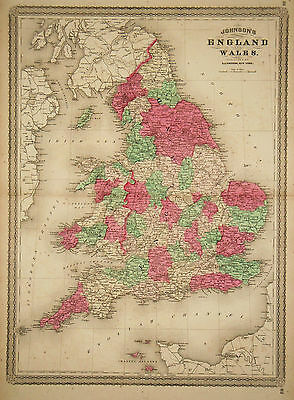 1867 Genuine Antique Hand Colored Map of England & Wales. Johnson