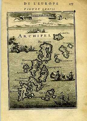 1683 Genuine Antique map Greek Islands of Pelagnisi, Dromo, etc . A.M. Mallet