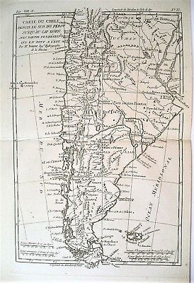 1780 Genuine Antique map of Chili & Patagonia by Bonne