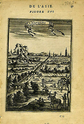 1683 Genuine Antique print of Nangking, China.  A.M. Mallet