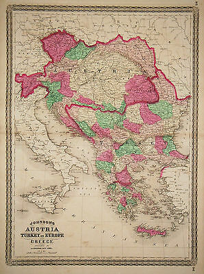 1867 Genuine Antique Hand Colored Map Austria, Turkey in Europe, Greece. Johnson