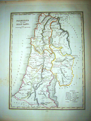 1835 Genuine Antique map Palestine/Holy Land, Bradford