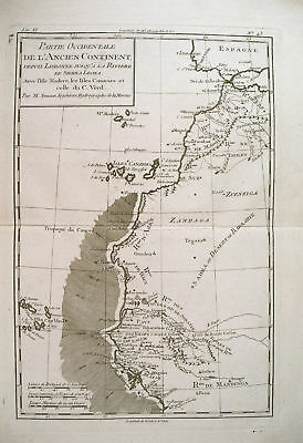 1780 Genuine Antique map of NW Coast of Africa by Bonne