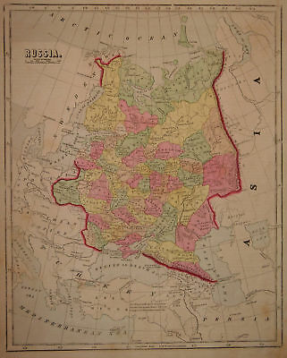 1856 Genuine Antique map of Russia. by C. Morse