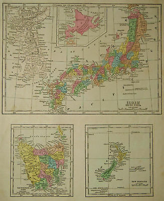 1856 Genuine Antique map Japan, New Zealand, Tasmania. C Morse