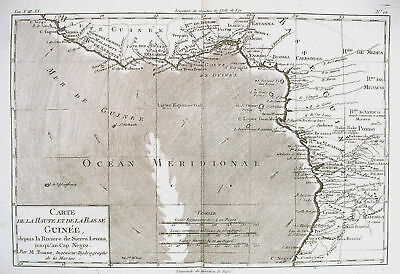 1780 Genuine Antique map of Guinea by  Rigobert Bonne