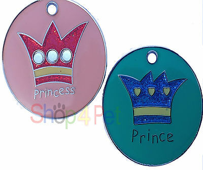 Pet ID Tag -  LARGE 32mm PRINCE or PRINCESS DESIGN TAGS with ENGRAVING Options