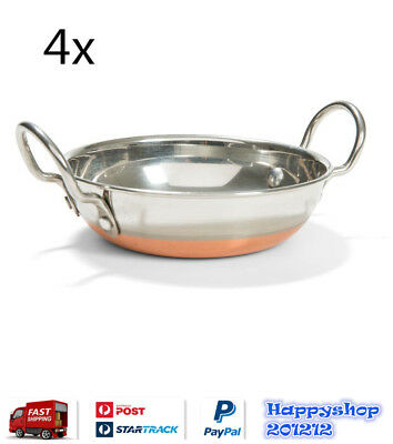 4 x Stainless Steel Copper Combo Balti Curry Kadahi Round Serving Dish 14cmD