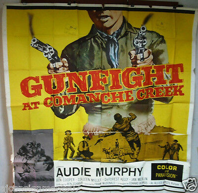 """GUNFIGHT AT COMANCHE CREEK AUDIE MURPHY SIX SHEETS ORG 81""""X81"""" MOVIE POSTER 60s"""