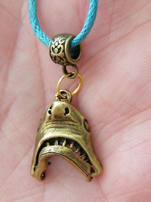 """SHARK Necklace GREAT WHITE SHARK! JAWS Mouth Open & Close! Bronze 17.5-19.5"""" NEW"""