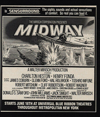 1976 MIDWAY Theater Movie Release - CHARLTON HESTON - HENRY FONDA - VINTAGE AD