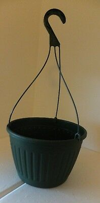 """set of 5 Plastic Hanging Baskets - white,green or brown 10"""" IMPERIAL flower pots"""