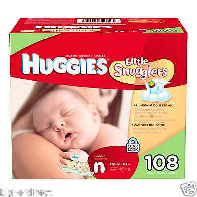 NEW - Huggies Little Snugglers Baby Diapers Size Newborn - 108 ct up to 10 lbs.