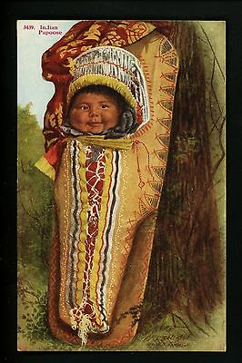 Native American Indian postcard Baby Papoose  H.H. Tammen Co. Vintage