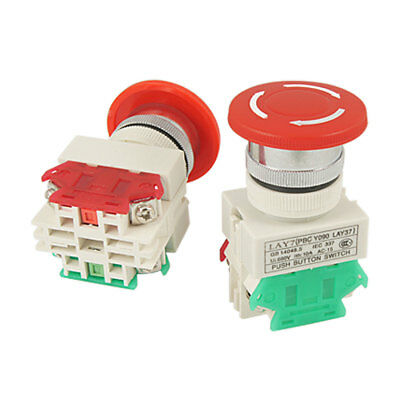 2 Pcs x Red Mushroom Emergency Stop Push Button Switch NO + NC 22mm Hole