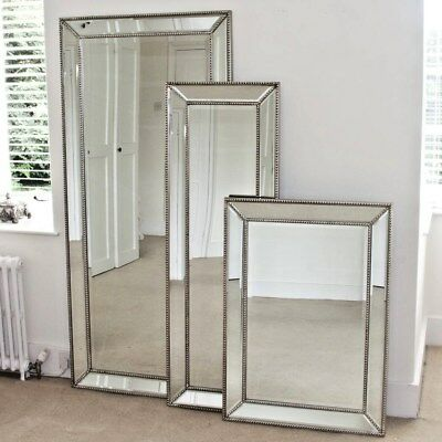 Silver  Beaded Classic Bevelled Mirror Frame  (Mm19)