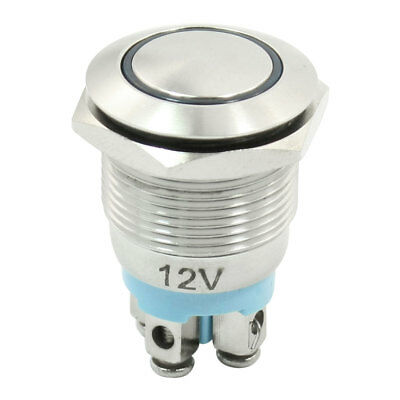 DC 12V Blue LED Light 19mm Dia Stainless Steel Momentary Push Button Switch NO