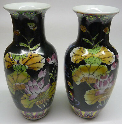 Vases Porcelain Chinese Vintage Pair Of Hand Painted Colourful -Very Collectable