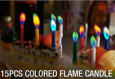 15x Multi Coloured Flame Birthday Cake Candles Angel Party Novelty Decorations