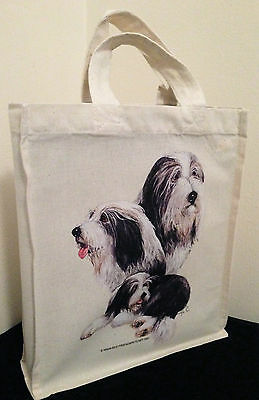 Bearded Collie Natural Cotton Small Fun Party Bag Tote with Gusset Useful Gift
