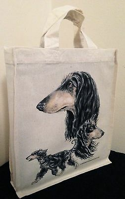 Saluki Natural Cotton Small Fun Party Bag Tote with Gusset Useful Gift