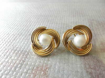 14K Yellow Gold Stud Earrings, 8mm Cultured White Akoya Pearls, no backings