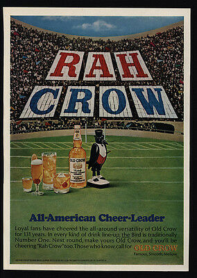 1966 OLD CROW Bourbon Whiskey - Football Field - Rah Crow - VINTAGE AD
