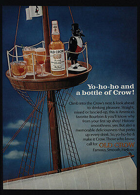 1966 OLD CROW Bourbon Whiskey - Ship Boat Crow's Nest - Yo-Ho-Ho - VINTAGE AD