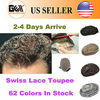 BHD Toupee Mens Hairpiece Swiss Lace Basement Wig Human Hair Replacement Systems