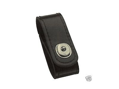 HWC Plain Black Leather Police Handcuff Strap Holder Case for Duty Belt w/ Snap