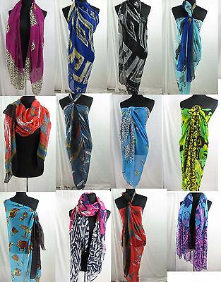 US SELLER-lot of 12 wholesale fashion scarves apparel cheap summer dress sarong