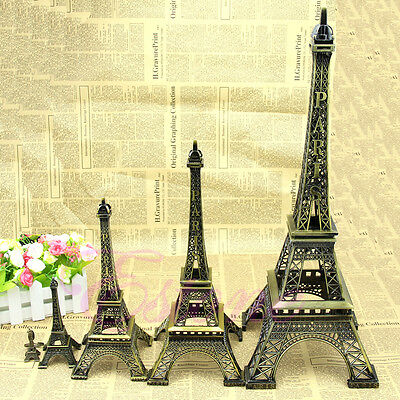 Bronze 6 Sizes Tone Paris Eiffel Tower Figurine Statue Vintage Alloy Model Decor