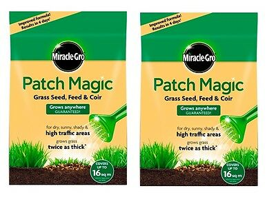 2 x Bags Miracle-Gro Patch Magic Grass Seed Feed and Coir Resealable Bag - 3.6KG