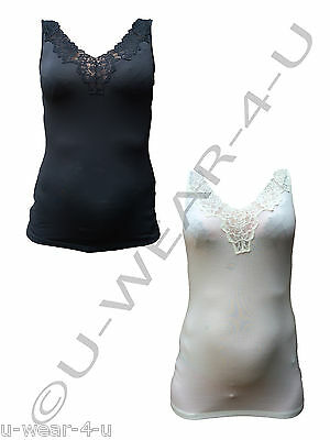Marks & Spencer Ladies Vest Camisole With Gorgeous Lace Detail M&s Cream Black