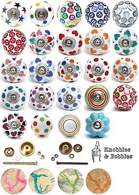 Shabby chic cupboard door knobs handles drawer pulls. Ceramic and resin knobs.