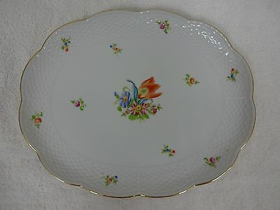 "10% OFF! Vintage Herend? Hungary hand painted porcelain platter  12-1/2"" long"