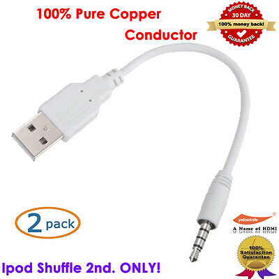 2pc New 2.0 2-In-1 USB Sync&Charge Cable Compatible With Apple IPOD Shuffle 2nd.