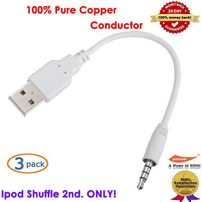 3pc New 2.0 2-In-1 USB Sync&Charge Cable Compatible With Apple IPOD Shuffle 2nd.