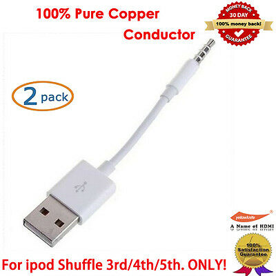 2Packs, USB CABLE SYNC + CHARGER CORD FOR APPLE iPOD SHUFFLE 3rd 4th 5th