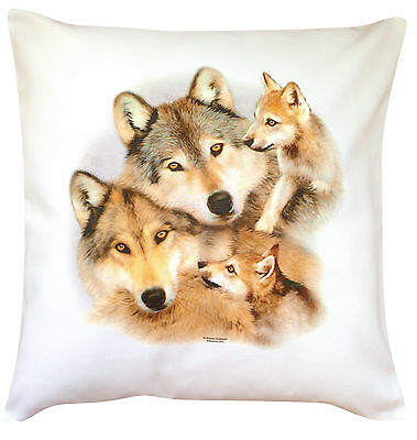 Wolf Family Themed Cotton Cushion Cover - Perfect Gift